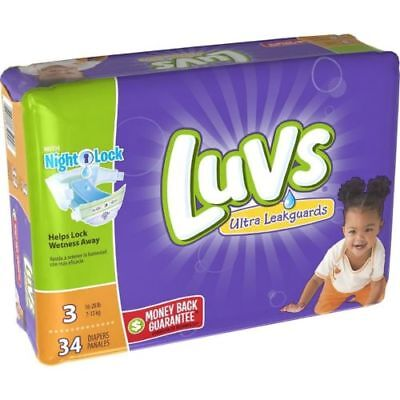 Luvs Ultra Leakguards Diapers with Night Lock, Size 3 34 ea
