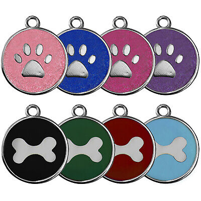 Round Glitter Paw/bone Engraved Dog Id Name Tag Personalized Pet Identity Disc