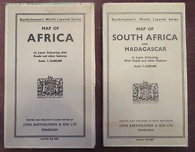 Map of Africa, South Africa and Madagascar, Large,Vintage, on linen