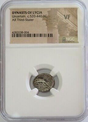 520 -440 Bc Silver Lycia Third Stater Dolphin Triskeles Coin Ngc Very Fine