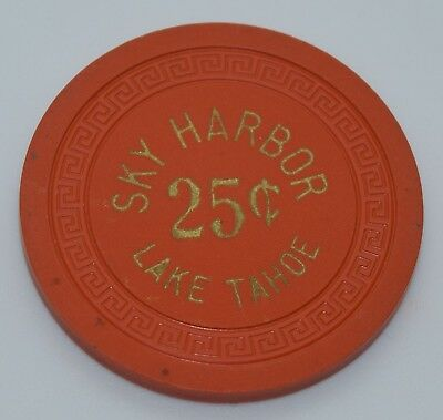 Sky Harbor 25¢ Casino Chip Lake Tahoe Nevada Sm-Key Mold 1947