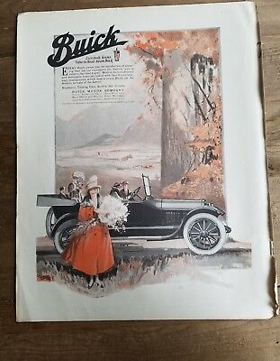1917 Buick Motor Company convertible car vintage color AD