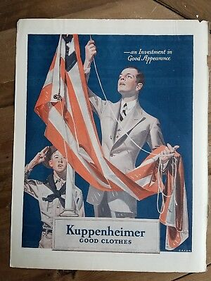 1922 KUPPENHEIMER good clothes men's fashion boy scout raising American flag ad