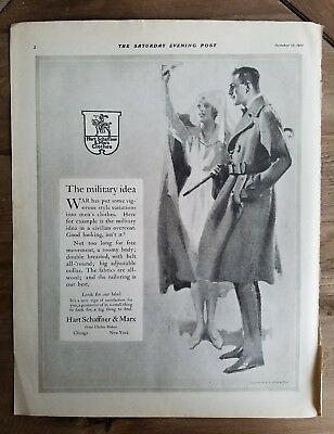 1917 men's Hart Schaffner & Marx clothing coat military idea Red Cross nurse ad