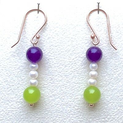 Suffragette Rose Gold Vermeil Amethyst & Peridot Seed Pearl Dropper Earrings
