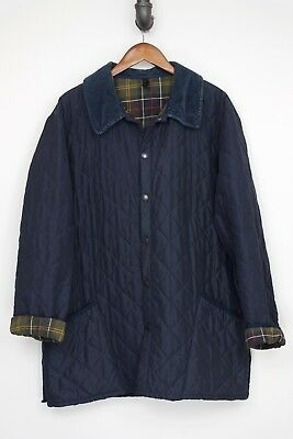 Barbour Classic Eskdale Quilted Jacket XL X-Large Navy Blue Corduroy Collar