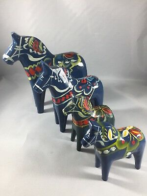 Vintage Swedish Dala Nils Olsson Painted Horses Set Blue
