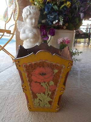 "unique old antique VICTORIAN WOOD BASKET hand painted home decor 13.5"" tall"
