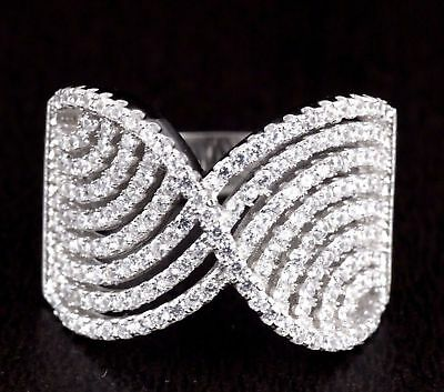 Womens Solid 925 Sterling Silver CZ Micro Pave X Waves Fashion Ring 15mm Wide