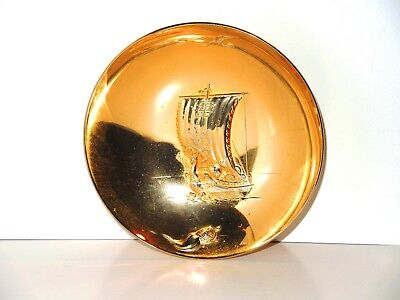 Vintage Japanese SAMURAI WARRIOR SHIP Sakazuki Ceremonial Sake Cup 24K GP ~ RARE