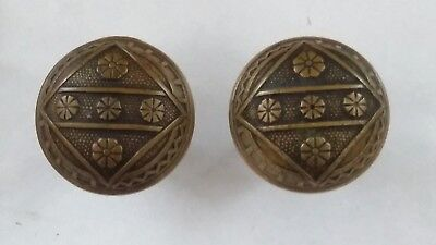 Antique Victorian Bronze Ornate Door Knob Set Of 2 Eastlake 2 1/4 Inch
