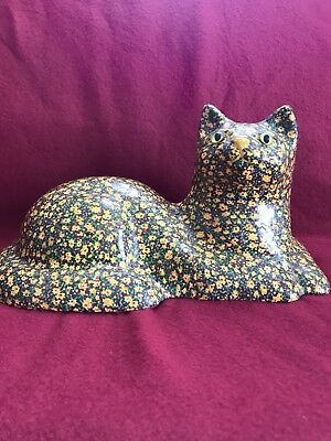 Vintage Home Made Cat Door Stop w GLASS EYES! Decoupage Calico