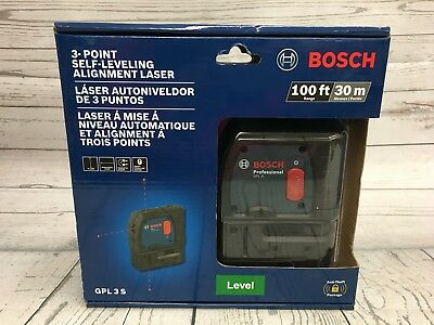 NEW, BOSCH GPL 3 S 3-POINT SELF-LEVELING ALIGNMENT LASER 100ft/30m-