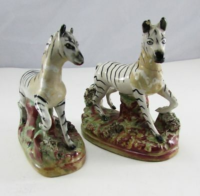 Antique Matched Pair of 19th C English Staffordshire Zebras
