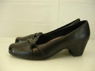 6bb7cac88 Womens 11 M Clarks Sugar Plum Cuban Heel Pumps Shoes Black Leather Comfort  Dress