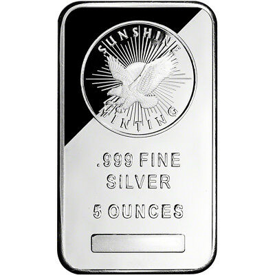 5 oz. Silver Bar - Sunshine Minting - .999 Fine - Sealed