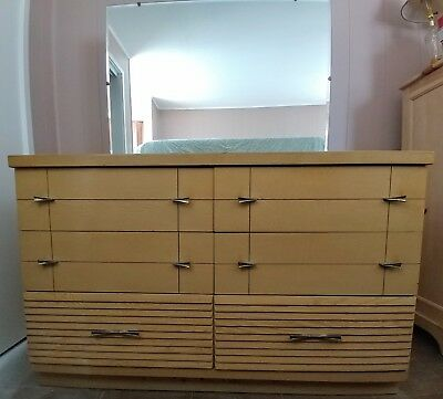 Antique Harmony House mid century solid wood blonde dresser with mirror 1950's