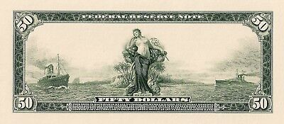 Proof Print or Intaglio Impression by BEP  Back of 1914 $50 Federal Reserve Note