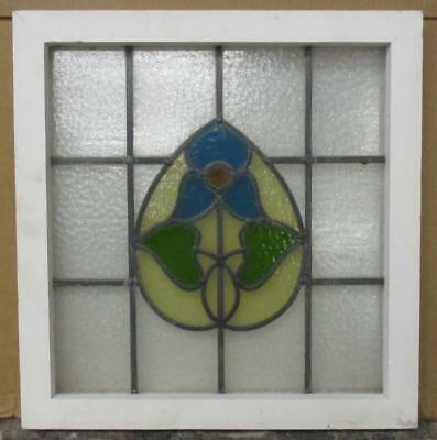 """OLD ENGLISH LEADED STAINED GLASS WINDOWBeautiful Floral 19.5"""" x 20.25"""""""