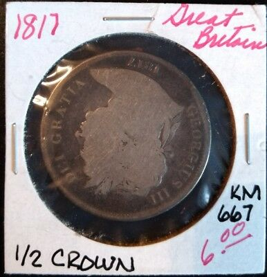 1817 Great Britain 1/2 Crown KM# 672SILVER