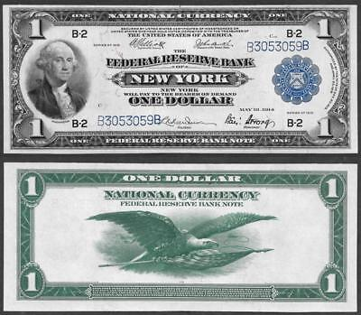 1918 $1~Large Size~National Currency Note New York~Almost Uncirculated