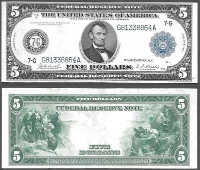 1914 $5 Federal Reserve ~ Large Size Chicago ~ Crisp Almost Uncirculated~