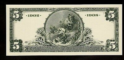 Proof Print or Intaglio Impression by BEP  Back of 1902-08 $5 Natl Banknote