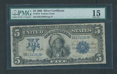 """1899 Silver Certificate, $5 """"ONE PAPA"""", PMG 15 Choice Fine, Indian Chief"""