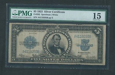 """1923 Silver Certificate, $5 """"PORTHOLE"""", PMG 15 Choice Fine, Lincoln"""