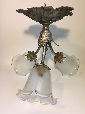 Antique ornate brass etched glass chandelier 3 light ceiling hanging fixture
