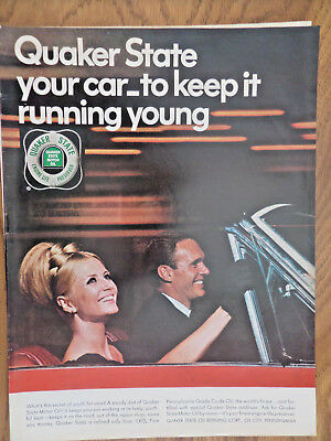 1966 Quaker State Motor Oil Ad Couple Convertible Your Car Keep it Running Young