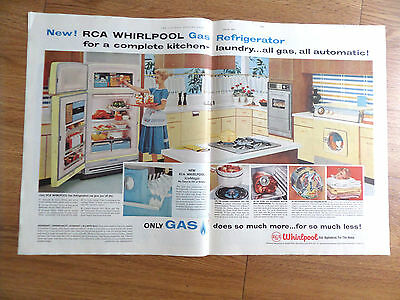 1958 RCA Whirlpool Appliance Ad  Kitchen Laundry Theme Refrigerator Washer Dryer