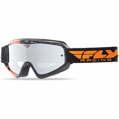 FLY Racing MX Zone Black Orange Dirt Bike Chrome Tinted Motocross Goggles