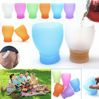 Collapsible Unbreakable Wine Glass Stemless Beer Whiskey Travel Silicone Cup 1pc