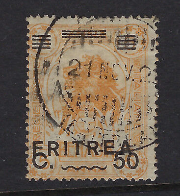 ERITREA (Italian) :1922 50c on 5a yellow-orange SG 62 used