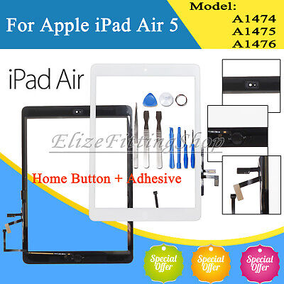 For iPad 5 Air 1st A1474 A1475 A1476 Touch Screen Glass Digitizer + Button White