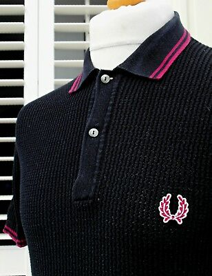 Fred Perry Black Twin Tipped Textured Knitted Polo - S - Mod Ska Scooter Casuals