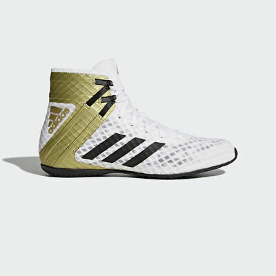 Adidas Speedex 16.1 Boxing Boots Mens White Gold Sports Shoes Trainers