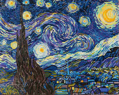 Diamond Dotz Embroidery Facet Art Kit, Intermediate Starry Night (Van Gogh)