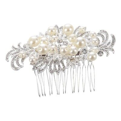 Bridal Party Vintage Wedding Hair Comb Clip Flowers Diamond Pearls Crystal White