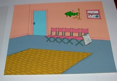 """the Simpsons"" Rare Pre-Production Painted Background - 12 1/2"" X 10 1/2"""