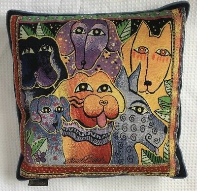 """Vintage Laurel Burch Pillow Dogs Square 16"""" Tapestry Throw Decor"""