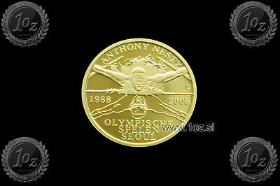 SURINAME 20 DOLLARS 2008 (ANTONY NESTY MEDAL SEOUL) 1.24g GOLD Comm Coin * PROOF