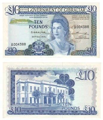 1975 GIBRALTAR £10 Pounds Banknote - P.22a (serial number A004388) UNC.