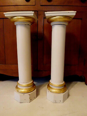 Antique Vtg Catholic Church Altar Architectural Salvage Wood Column Pair