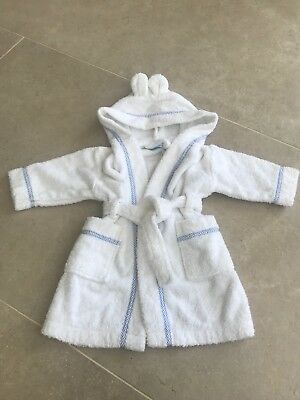 Baby Boys White Towelling Bath Robe / Dressing Gown 6-12 Months John lewis