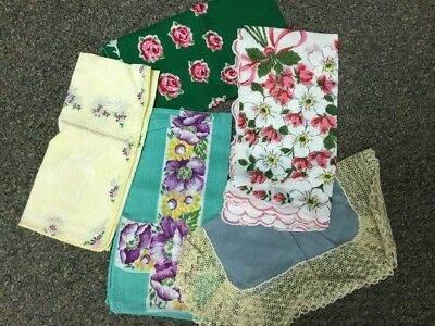 Lot Of Five Vintage Hankies Handkerchiefs Colorful Floral Flowers Nice!