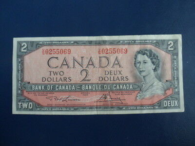 1954 Canada 2 Dollar Bank Note-Lawson/Bouey-VG0255069-VG+ Cond.  18-311