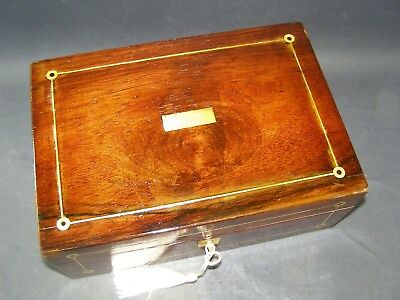 Antique Rosewood Box Working Lock & Key 1870 Mother Of Pearl Roundels & Center