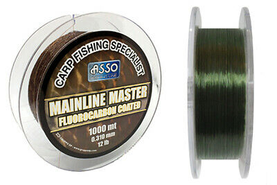 Asso Mainline Master Fluorocarbon Coated Carp 2x Fishing Line 1000 m Green